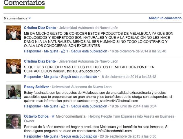comentarios Melaleuca